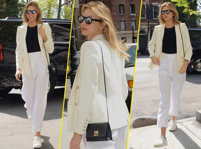 karlie kloss t shirt noir et pantalon blanc pour un look bicolore chic et urbain. Black Bedroom Furniture Sets. Home Design Ideas
