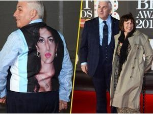 Photos : Brit Awards 2013 : Mitch Winehouse : il porte un émouvant gilet à l'effigie de sa fille disparue, Amy !