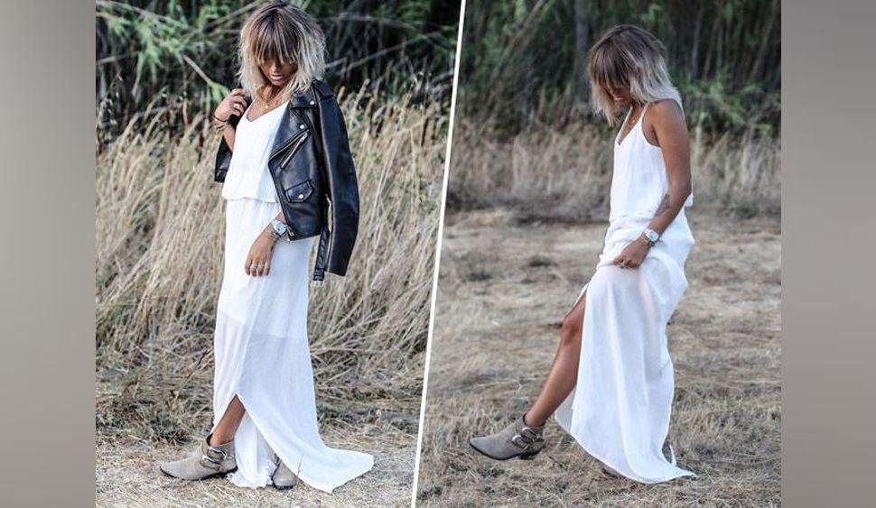 Noholita : En maxi dress et veste en cuir : la petite bombe s'affiche ultra stylée